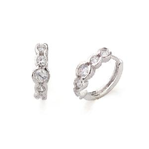 rhodium plated brass cubic zirconia hoop earring rhinestone ring pendant necklace