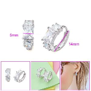 rhodium plated brass cubic zirconia hoop earring sapphire pendant bracelet cz ring