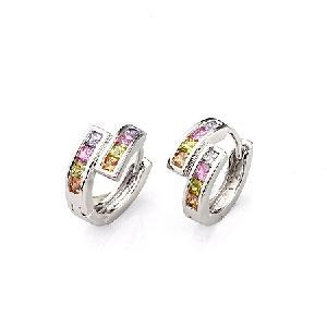 rhodium plated brass cubic zirconia hoop earring sapphire prehnite fashion jewelry
