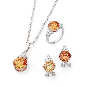 rhodium plated brass cubic zirconia jewelry precious stone fashion