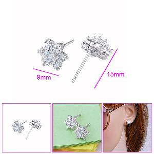 rhodium plated brass cubic zirconia stud earring cz ring bracelet jewelry
