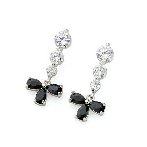 rhodium plated brass cubic zirconia stud earring fashion jewelry ring bracelet