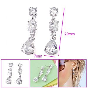 rhodium plated brass cubic zirconia stud earring ring pendant cz jewelry fashion