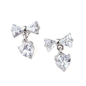 rhodium plated brass cubic zirconia stud earring tourmaline ring moonstone bracelet pendant