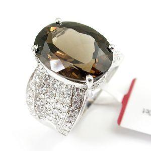 rhodium plated sterling silver 925 smoky quartz ring gemstone jewelry