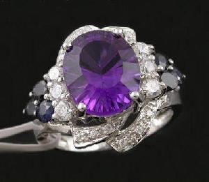 rhodium plated sterling silver amethyst ring moonstone bracelet earring