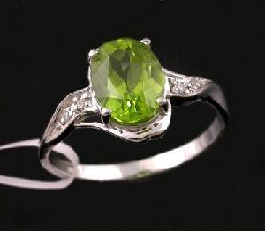 rhodium plated sterling silver olivine ring tourmaline moonstone citrine ear