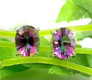 rhodium plated sterling silver rainbow stone stud earring citrine ring