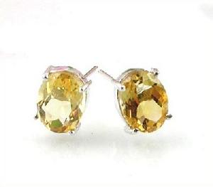 rhodium plated sterling silver topaz stud earring gemstone jewelry