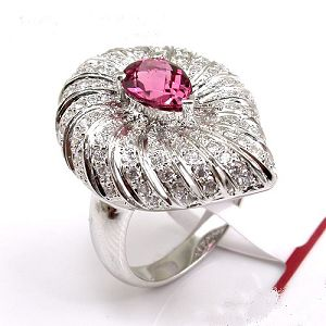 rhodium plated sterling silver tourmaline ring gemstone jewelry fashion