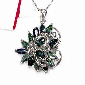 rhodium plating sterling silver sapphire pendant amethyst prehnite ring earring