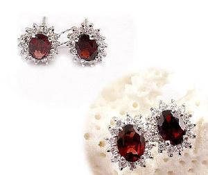 sterling silver garnet stud earring tourmaline bracelet citrine pendant ring moonstone