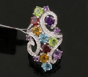 sterling silver mix gem ring bangles fashion jewelry prehnite amethyst earring pendan