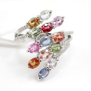 sterling silver mix gem ring cz jewelry tourmaline citrine amethyst earring bracel