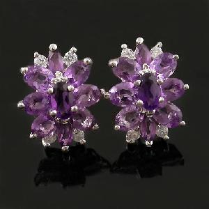 sterling silver amethyst earring moonstone prehnite ring chalcedony pendant