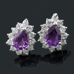 sterling silver amethyst earring prehnite ring pendant bracelet chalcedony