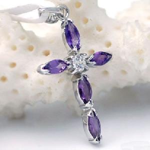 sterling silver amethyst pendant cz jewelry tourmaline ring fashion
