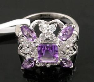 sterling silver amethyst ring cz fashion jewelry moonstone earring prehnite