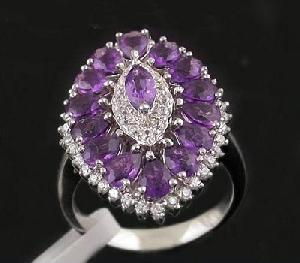 sterling silver amethyst ring prehnite pendant garnet tourmaline