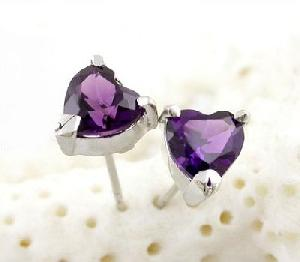 sterling silver amethyst stud earring olivine ring cz jewelry fashion jew