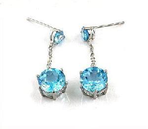 sterling silver blue topaz drop earring ring jadeite bracelet prehnite pendant