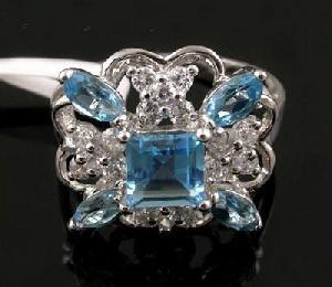 sterling silver blue topaz ring amethyst earring garnet olivine sapphire ea