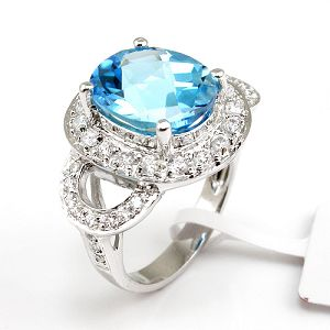 sterling silver blue topaz ring cz jewelry citrine sapphire ruby earring