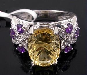 sterling silver citrine amethyst ring prehnite bracelet pendant nec