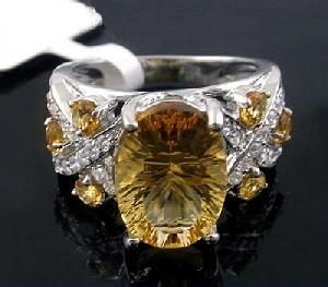 sterling silver citrine ring prehnite jadeite bracelet tourmaline pendant
