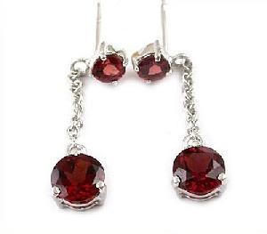 sterling silver garnet drop earring amethyst ring fashion jewelry tourmaline pendant