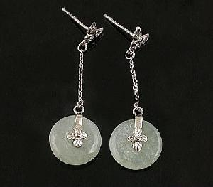 sterling silver jadeite stud earring olivine bracelet citrine pendant tourmaline rin