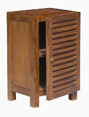 bedside nightstand slatted 1 door 2 shelves mahogany teak indoor furniture