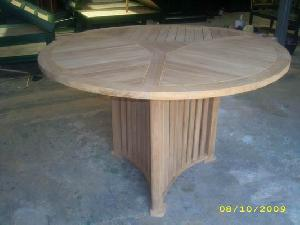 bellheim round table triangle legs 120 x cm teka teak garden furniture