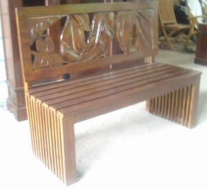 Mahogany Bench 2 Seater With Leaf Carving Back Seat Wooden Indoor ...