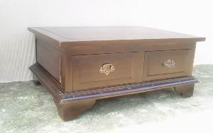 mahogany coffee table 4 drawers brass handle wooden indoor furniture