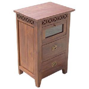 nightstand borneo 2 drawers 1 glass door mahogany teak indoor furniture