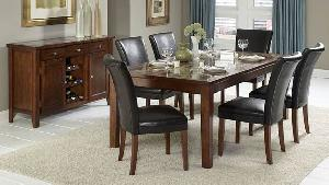 rectangular leather dining chair table mahogany teak indoor furniture