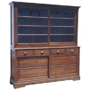 store cabinet l 4 drawers slidding doors shelves indoor teak mahogany furniture