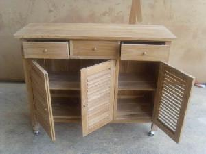 Teak Cabinet Outdoor 3 Doors And 3 Drawers Teka Garden Furniture ...