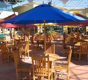 teak garden restaurant blue umbrella round coffee table outdoor furniture