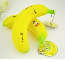 pvc banana shape keychain