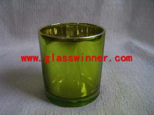 plated green glass cup