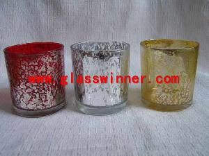 silver streaked glass cup