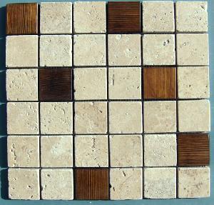 wood stone art mosaics mesh mounted tiles borders