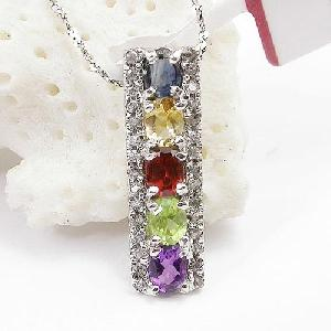 factory sterling silver gemstone pendant tourmaline ring blue topaz necklace