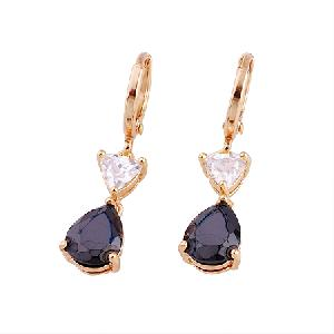 manufactory 18k gold plating brass cubic zirconia drop earring gemstone ring cz jewel