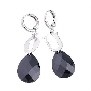 manufactory rhodium plated brass cubic zirconia drop earring fashion cz jewelry