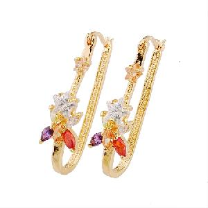 18k gold plating brass cubic zirconia drop earring cz jewelry rhinestone fashion jewelr