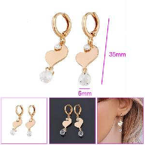 18k gold plating brass cubic zirconia drop earrings fashion jewelry costume