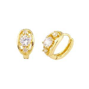 18k gold plating brass cubic zirconia hoop earring ring chalcedony stone bracele